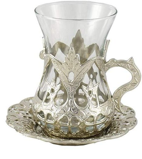 tazas de té plata, tazas de te turco